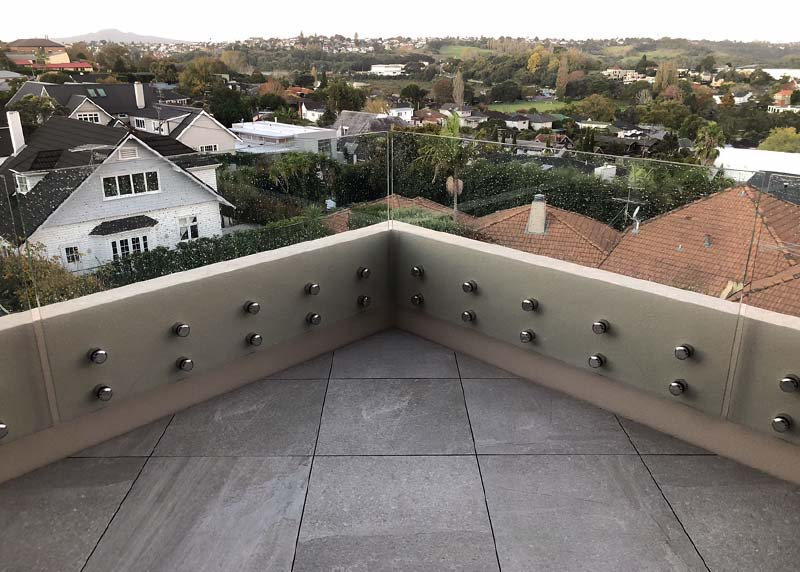 Deck tiles installed on a forty five degree angle